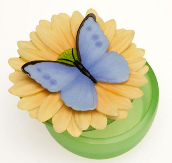 Blue Butterfly on Daisy Keepsake Box