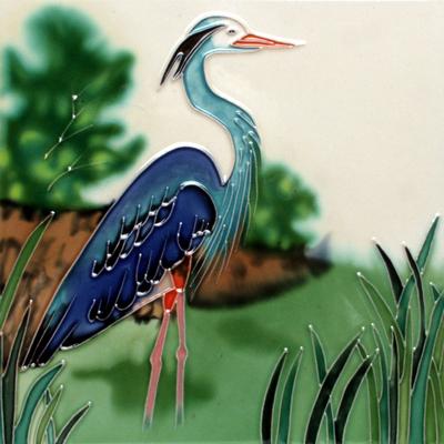 Blue Heron Ceramic Art Tile