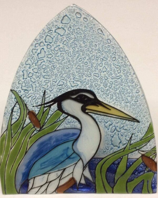 Blue Heron Art Glass Night Light