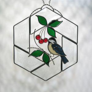 Chickadee on Beveled Hexagon