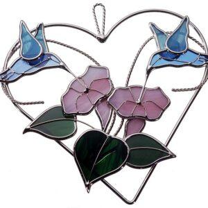 Double Hummingbird Heart Ring