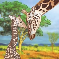 Giraffe & Calf Ceramic Art Tile