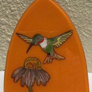 Hummingbird & Coneflower Art Glass Night Light