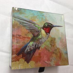 Hummingbird Glass Keepsake Box