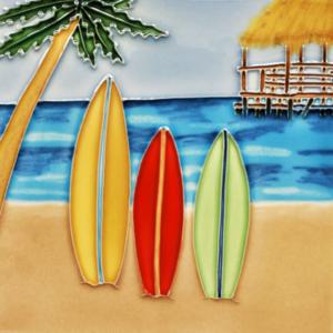 Surf Scene with Surfboards Ceramic Art Tile