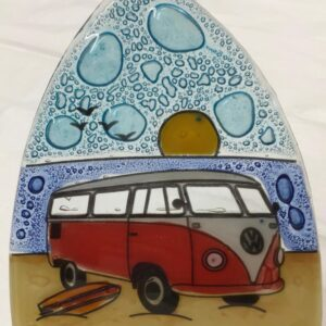 VW Mircrobus Surfboard Beach Night Light