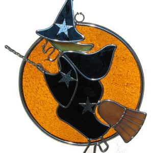 Witch on a Broom in the Moon